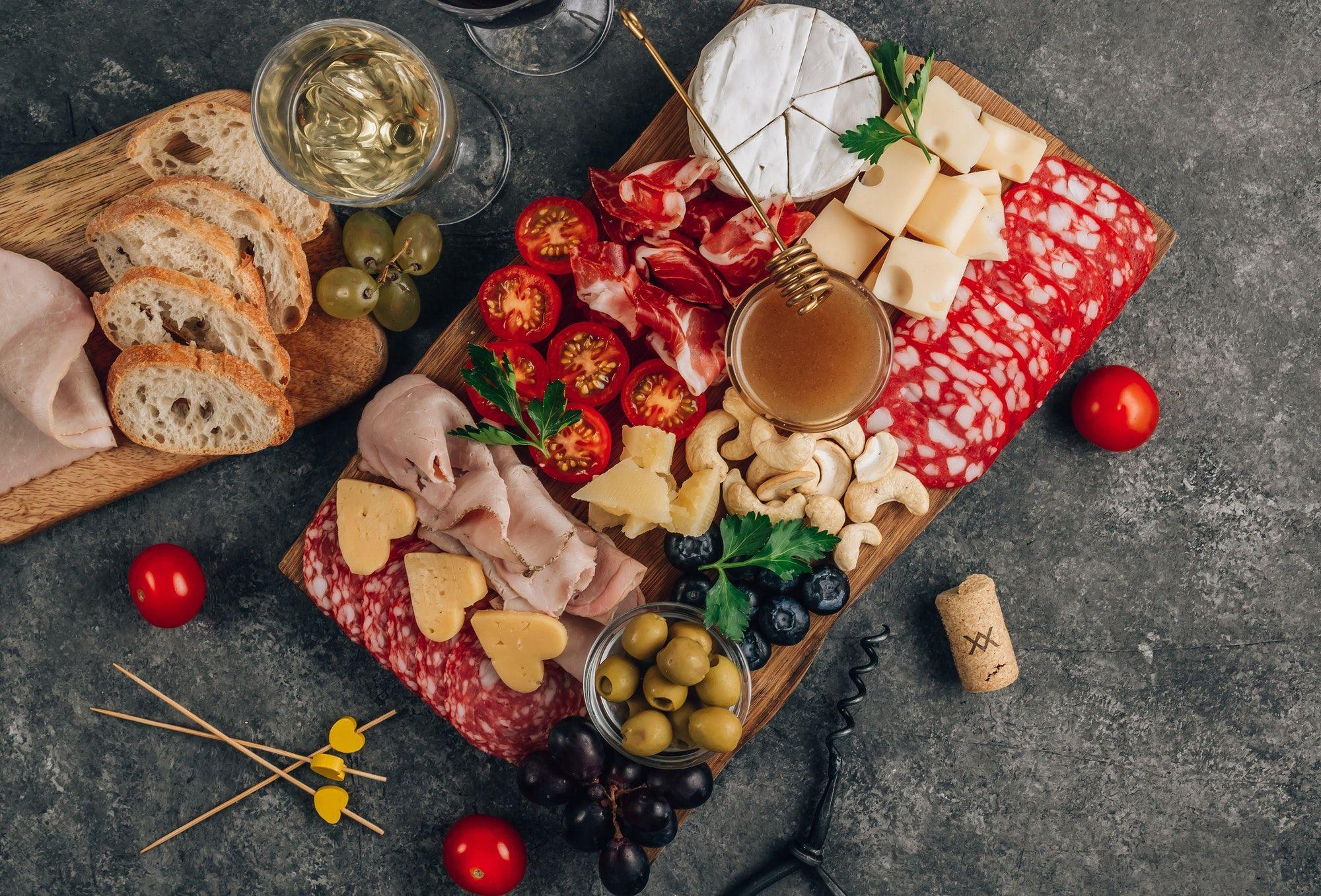 Assortment of spanish tapas or italian antipasti